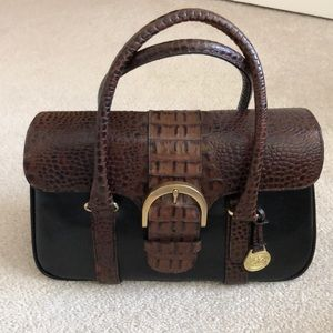 Brahim Brown and  black leather Buckle purse